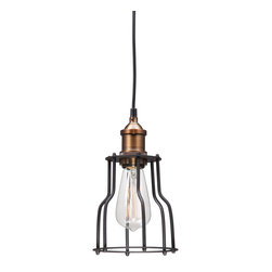 Zuo Modern Contemporary, Inc. - Aragonite Ceiling Lamp Black & Copper - For Alcatraz Island chic, try the Aragonite Ceiling Lamp. A hanging black and copper cage encloses a sleekly voluptuous 40 watt bulb. Hang it over a craft table or a breakfast nook and be glad you're not on the inside.