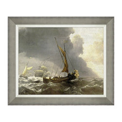 Frontgate - Antique Sailing Ships V - High-quality reproduction of the original artwork. Designed to be displayed by itself or as part of a set of six. White linen liner. Distressed grey frame. Arrives ready to hang. With a visibly crackle-textured surface, our Antique Ship Framed Wall Art has the look of an aged antique painting. This high-quality giclee print makes a sophisticated addition to any room; especially those with coastal decor. . . . . .