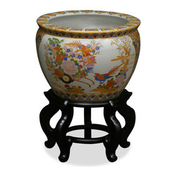 China Furniture and Arts - 14in Hand Painted Satsuma Design Fishbowl - Artists in China elaborately paint this beautiful glazed porcelain pot in gold Satsuma with traditional Chinese beauty design. Used as a cachepot, it gives a plant a decorative place to call home. Stand sold separately.