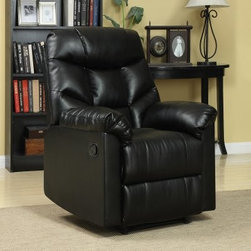 ProLounger Wall Hugger Microfiber Recliner - Make any space the place where rest and relaxation are the only goals of the day with the ProLounger Wall Hugger Microfiber Recliner. Thick padding and soft Renu leather upholstery in black make it the centerpiece of any room. Easy to fit into any space this recliner features a wall-hugging system that lets you recline even closer to your walls. A pad between the chair and leg rest adds even more comfort when taking a load off. A comfortable coil spring system supports your body making it easy to forget the daily grind. About Handy Living and angelo:HOME: angelo:HOME showcases quality crafted ready to assemble (RTA) furniture that is easy to put together built to last and offers a contemporary appeal that demands second looks. Each piece combines outstanding craftsmanship with an innovative design providing products that are forward thinking in style and functionality. Handy Living applauds innovation and has designed furniture that is modular and can fit in standard sized shipping boxes optimized online retail sales. Their furniture is high quality easy to assemble stays safe in shipping and affordable. From designer fashions in fabric and style to multi-layered cushions for comfort Handy Living's furniture all offer quality construction at a reasonable price.
