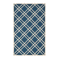 Safavieh - Sophie Hand Tufted Rug, Navy Blue / Ivory 4' X 6' - Construction Method: Hand Tufted. Country of Origin: India. Care Instructions: Vacuum Regularly To Prevent Dust And Crumbs From Settling Into The Roots Of The Fibers. Avoid Direct And Continuous Exposure To Sunlight. Use Rug Protectors Under The Legs Of Heavy Furniture To Avoid Flattening Piles. Do Not Pull Loose Ends; Clip Them With Scissors To Remove. Turn Carpet Occasionally To Equalize Wear. Remove Spills Immediately. Bring classic style to your bedroom, living room, or home office with a richly-dimensional Safavieh Cambridge Rug. Artfully hand-tufted, these plush wool area rugs are crafted with plush and loop textures to highlight timeless motifs updated for today's homes in fashion colors.