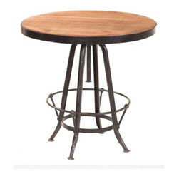 YOSEMITE HOME DECOR - Bistro Table - This adjustable height table features a solid mango wood top wrapped in a metal frame. An aged black metal frame also features a foot rest for comfort. Spin the top to adjust the table height. Assembled, Made in India.
