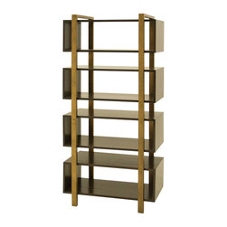 Metropolitan Bookcase - A modern, masculine and luxury approach to furniture design. Our Metropolitan collection is made by crafty artisans from Honduras. Metropolitan collection is designed of poplar wood and antiqued recycled brass.