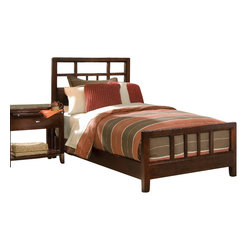 American Drew - American Drew Tribecca 4-Piece Slat Bedroom Set in Root Beer Color - The Tribecca mixes it up with modern, Art Deco, and Asian influences. Lighter scaled, with classic clean lines and pared down forms, Tribecca's inviting textures, rich wood tones and nickel finish hardware could be just the fresh look you've been trying to imagine for the new retirement condo on the shore or a trendy city loft.