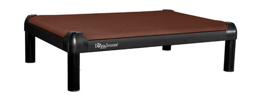 DoggySnooze - snoozePad, Anodized Frame, Long Legs, Memory Foam - This luxurious elevated dog bed features clean lines that will complement your contemporary decor — and it's even chew resistant! Use this bed indoors or out as a favorite resting spot for your four-legged friend — or buy two. Made in the USA and available in three sizes, with optional black anodized frame, long legs and memory foam.