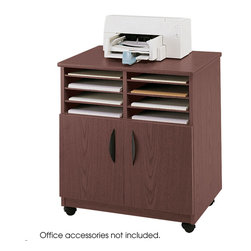 "Safco - Mobile Machine Stand with Sorter - Mahogany - Make A/V mobile and move multimedia wherever you need it! The Mobile Machine Stand is ideal for office equipment, TV/VCR set-ups and more. Generously sized to fit most office machines, the Mobile Stand has six sorter shelves that form up to eight letter-size compartments. Shelves adjust in 1-1/4"" increments or can be removed to increase compartment size. Double doors conceal a 26""W x 17-3/4""D x 14-3/4""H storage compartment. Rolls smoothly anywhere on four swivel casters (2 locking). Constructed of tough 3/4"" furniture-grade wood with stain and scratch-resistant laminate finish.; Features: Material: Furniture Grade Particleboard; Color: Mahogany; Finished Product Weight: 86 lbs.; Assembly Required: Yes; Tools Required: Yes; Limited Lifetime Warranty; Dimensions: 28""W x 19 3/4""D x 30 1/2""H"