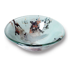 Flotera - Xiu Modern Tempered Glass Vessel Sink By Flotera - With this Xiu modern vessel sink, your bathroom decor will splash with color and intrigue. Featuring an Asian pattern, this tempered glass bathroom sink is an ideal home improvement update.