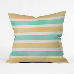 Beachy Stripes Pillow Cover - Bring the color palette of your favorite beach oasis into your décor with this cheerful throw pillow. With a bright striped pattern in turquoise and sand, it will spruce up your couch, chair, or bed with its sunny style.