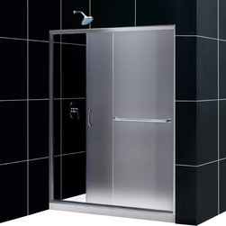 DreamLine - DreamLine SHDR-0960720-01-FR Infinity-Z 56 to 60in Frameless Sliding Shower Door - The Infinity-Z sliding shower door delivers a classic design with a fresh attitude. Features of convenience like a handy towel bar and fast release wheels that make cleaning the glass and track a cinch are combined with the modern appeal of a frameless glass design. Choose the simply sophisticated style of the Infinity-Z sliding shower door. 56 - 60 in. W x 72 in. H ,  1/4 (6 mm) frosted tempered glass,  Chrome or Brushed Nickel hardware finish,  Frameless glass design,  Width installation adjustability: 56 - 60 in.,  Out-of-plumb installation adjustability: Up to 1 in. per side,  Anodized aluminum profiles and guide rails,  Convenient towel bar on the outside panel,  Aluminum top and bottom guide rails may be shortened by cutting up to 4in,  Door opening: 21 3/8 - 25 3/8 in., Aluminum