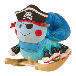 Rockabye - Rockabye Ocho the Pirate Spider Rocker - Ahoy spidey! join Ocho the pirate spider on an eight-legged high seas adventure. Your little boy can now have as much fun as all the little girls who have made lulu ladybug rockery's number one seller. Ocho is lulu's twin in size and shape. Its heirloom quality fun-filled activates (2 feet have rattles 2 feet have squeakers 2 feet have crinkle and 2 feet have nothing to give all 4 on each side a different feel) and original music will delight your little spider rider. The four original songs teach ABC's, 123's, colors, shapes and more (Operated by pushing the corresponding embroidered shapes).