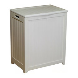 """Oceanstar Design - Rectangular Laundry Wood Hamper with Interior Bag, White - Contemporary design for your bed or bath by adding this laundry hamper to your home decor. This laundry hamper is a solid wood construction hamper; it adds durability and elegance to any room and helps to keep your room neat and contemporary. This laundry hamper comes with a canvas bag and double hinges with hardware and other accessories to assemble. There are also rubber bumpers on the lid which help to prevent damage to the hamper. Two hand grips on the side makes it easy for you to carry your clothes to your laundry room or you can also take out the canvas bag to your laundry room. This beautiful hamper is functional while adds class and style to your room. Assembly required. Hamper Size: 24""""H x 13.5""""D x 20""""W. Assemble weight: 13 lbs."""