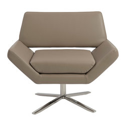 Euro Style - Carlotta Lounge Chair - Taupe/Stainless Steel - The second you sit, an orderly, angular look gives way to extremely comfortable experience. It's beautifully designed alchemy that brings together crisp geometry and that 'I'd rather not get up now' luxury.