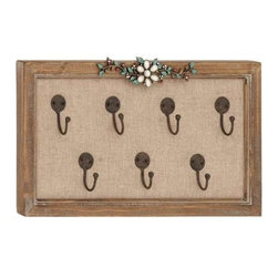 Benzara - Wooden Frame Unique Floral Art Hook Wall Panel - Wooden Frame Unique Floral Art Hook Wall Panel. Try something new to add a zing to your modern abode. This wall hook is also an excellent choice for gift. Wrap it up and surprise your near dear ones with your refined taste in home decor and art. So wait no more get one now. Some assembly may be required.