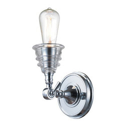ELK Lighting - ELK Lighting 66800-1 Insulator Glass 1 Light Wall Sconces in Polished Chrome - The Insulator Glass collection was inspired by the glass relics that adorned the top of telegraph lines at the turn of the 20th century.� Acting as the centerpiece of this series is the recognizable shape of the glass insulator, made from thick clear glass that is complimented by solid cast hardware designed with an industrial aesthetic. Finishes include polished chrome, oiled bronze, and weathered zinc.
