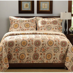 Greenland Home Fashions - Greenland Home Fashions Andorra Quilt Set - GL-1304AMST - Shop for Bedding Sets from Hayneedle.com! The crisp autumnal colors of the Greenland Home Fashions Andorra Quilt Set bring its nature-inspired print to life including floral crests and moon-shaped medallions in a lovely retro style. This set is made from 100% machine washable cotton and is available in your choice of size with the quilt designed larger than ordinary for more comfortable mattress coverage.About Greenland Home FashionsFor the past 16 years Greenland Home Fashions has been perfecting its own approach to textile fashions. Through constant developments and updates - in traditional country and more modern styles n the company has become a leading supplier and designer of decorative bedding to retailers nationwide. If you're looking for high-quality bedding that not only looks great but is crafted to last consider Greenland.
