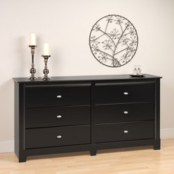 Prepac Furniture - Prepac Kallisto Black 6-Drawer Dresser - Featuring timeless good looks with decorative moldings on the sides and top, it's hard to resist adding this Prepac Kallisto Black 6-Drawer Dresser to your room. Six drawers provide storage for your apparel. Adorn the top with a classic mirror and your bedroom is complete. Can be coordinated with other items in the Kallisto Collection.    Features: