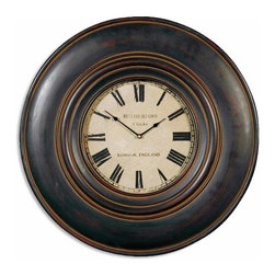 """Uttermost - Adonis 24"""" Wooden Wall Clock - This clock features a wood frame finished in distressed black with brown undertones and a dark tan glaze. Clock face is aged ivory, with glass protecting the clock face. Uses one AA battery."""