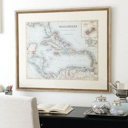 Ballard Designs - West Indies Map Art - Digitally printed on paper. Antique gold wood frame. Glass front. Who doesn't want to be in the Caribbean? Created from a vintage map, we've updated the colors to include all of our favorites - spa, coral and misty blue. The soft cream mat blends easily with any wall color or fabric. West Indies Map features: . . .