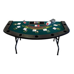 Trademark Global - Full Size Folding Blackjack Table - Full size table. 7 Player positions & dealer position. Built in cup holders. Dealer chip tray. Padded armrest. Padded felt top. Folding legs. Wood reinforced exterior frame. 72 in. L x 36 in. W x 30 in. H (80 lbs.)This Folding Blackjack Table has a full set of bumper pads around the table. The pads are covered with a high grade mildew resistant black vinyl. The table top is produced from a casino style high grade green felt. The table top is padded to give the dealer and players the highest comfort level. Under the table top is a wood reinforced frame for added stability and strength.