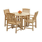 Great Deal Furniture - Outdoor Patio 5-Piece Hardwood Dining Set - Give your back patio a classic, natural look with this outdoor dining set, crafted from eucalyptus and finished in a pure wood stain. Four sturdy chairs and one round table are included in this minimalist, well-crafted furniture set.