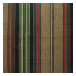 "Close to Custom Linens - 84"" Shower Curtain, Unlined, Carlton Stripe Night Black - Carlton Night is a varied-width stripe with muted shades of black, dark red, brown, green and tan."