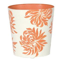 Worlds Away Oval Wastebasket, Orange Floral - Worlds Away Oval Wastebasket, Orange Floral
