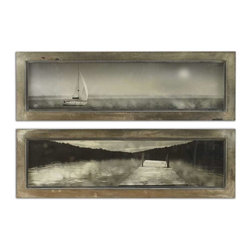 Uttermost - Uttermost Twilight Sail Framed Art Set of 2 - 35232 - Uttermost's art combines premium quality materials with unique high-style design.