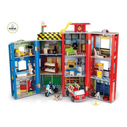 KidKraft - Everyday Heroes Play Set by Kidkraft - With our Everyday Heroes Wooden Play Set, kids get to play and save the day at the same time! This detailed play set lets kids imagine themselves as real-life heroes, answering urgent calls and keeping people safe. Parents will love the convenience of being able to close and store away this set in seconds.