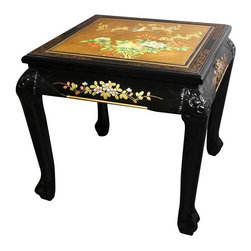 Oriental Furniture - Claw Foot End Table - Gold Leaf Birds and Flowers - Hand-crafted by artisans in the Guangdong province of mainland China, this sturdy Elmwood table features individually hand-painted details and a rich, clear lacquer finish. The craftsman's fine eye for detail is further evidenced in the fine woodworked details on the sides, legs, and claw feet. A truly unique accent piece, this table adds an exotic Asian flair to any room.