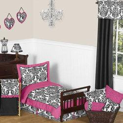 Sweet Jojo Designs - Isabella Pink 5-Piece Toddler Bedding Set by Sweet Jojo Designs - The toddler bedding by Sweet Jojo Designs includes: comforter, sham, pillowcase, fitted sheet and a flat sheet.