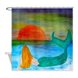 usa - Sun Set Mermaid Shower Curtain - Beautiful shower curtains created from my original art work. Each curtain is made of a thick water resistant polyester fabric. The permanently applied art work appears on the front side with the inside being white. 12 button holes for easy hanging, machine washable and most importantly made in the USA. Shower rod and rings not included. Size is a standard 70''x70''