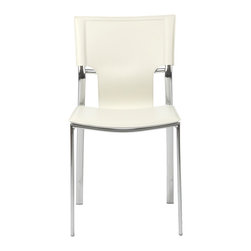 Euro Style - Euro Style Vinnie Side Chair Set of 4 17212WHT - Leather might be at the top of your list and the Vinnie collection delivers. The clever uniqueness of these chairs is in the slim, cutaway leather on the seat back. It's a pleasing shape for a very popular grouping.