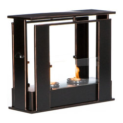 Holly & Martin - Holly & Martin Walton Portable Indoor/Outdoor Gel Fireplace - Enliven any space with this portable metal gel fuel fireplace. This unique design sits conveniently on a patio, floor, or table for instant relaxation. Finished with a painted black finish with copper edges, this fireplace will hold up to 2 cans of gel fuel providing a rich fiery glow perfect for relaxation. Each can last up to 3 hours on a single burn and puts off up to 3,000 BTU's. Gel fuel must be purchased separately. This portable fireplace also makes a convenient and unique space for burning and displaying candles simply by placing the included snuffer cover on top of the gel fuel can openings.