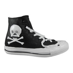 Zeckos - Black Skull Crossbones High Top Sneaker Piggy Bank - This adorable cold cast resin money bank really brightens up a room. Fashioned after the popular canvas hi-tops sneakers, this black bank has a white skull and crossbones on each side of the ankle, accented with faceted clear rhinestones in the eye holes. The bank measures 5 1/2 inches tall, 3 3/4 inches wide and 9 1/2 inches long. The bank empties via a twist-off plastic piece on the bottom. It is hand-painted, and makes a great gift for encouraging a saving habit.