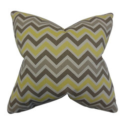 """The Pillow Collection - Howel Zigzag Pillow Yellow 20"""" x 20"""" - Make a splash to your home with this playful decor piece. This accent pillow features a zigzag pattern in shades of gray,natural and yellow. Provide a dose of comfort and texture to your living room with this indoor pillow. Made of 100% plush and high-quality cotton material. Crafted in the USA."""
