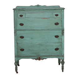 American Painted Chest - Classic Vintage Americana Painted Chest - a beautifulpatina  turquoise color, solid wood with Brass knobs, nice large drawers.