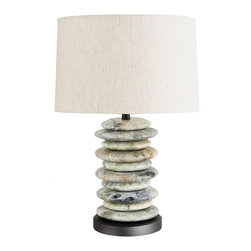 "Frederick Cooper - Frederick Cooper Cambria Table Lamp - Bring the beauty of nature to your bedside or anyplace you like with this lovely lamp. Its base is made of a stack of river stones delicately marbled with shades of green grey and brown. A natural linen tuck-under drum shade echoes the natural theme. Choose your level of brightness with a 3-way switch that makes it easy to control lighting output. Green stone finish with black mounting. Takes one 150 watt 3-way bulb (not included). 25"" high. Shade is 16"" across the top 17"" across the bottom and 10 1/2"" high.  Green stone finish with black mounting.   Natural linen shade.   Takes one 150 watt 3-way bulb (not included).  25"" high.   Shade is 16"" across the top 17"" across the bottom and 10 1/2"" high."