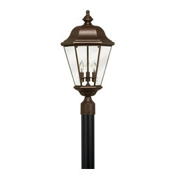 Hinkley Lighting - Clifton Park Large Post Outdoor Lantern - The Clifton Park Collection has all the hallmarks of traditional good taste. Comes in Copper Bronze finish. Takes 3 40 Watt Candle Bulbs.