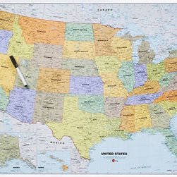 Dry Erase US Map - Paper Source - A fun way to teach a little North American geography, keep track of where you've been, or plan a road trip, this dry erase map is peel and stick and can move around wherever you need it.