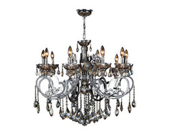 """Worldwide Lighting - Kronos 10 Light Chrome Finish & Golden Teak Crystal Chandelier 26"""" x 24"""" Large - This stunning 10-light chandelier only uses the best quality material and workmanship ensuring a beautiful heirloom quality piece. Featuring a radiant chrome finish and finely cut premium grade golden teak (translucent champagne color) crystals with a lead content of 30%, this elegant chandelier will give any room sparkle and glamour. Worldwide Lighting Corporation is a privately owned manufacturer of high quality crystal chandeliers, pendants, surface mounts, sconces and custom decorative lighting products for the residential, hospitality and commercial building markets. Our high quality crystals meet all standards of perfection, possessing lead oxide of 30% that is above industry standards and can be seen in prestigious homes, hotels, restaurants, casinos, and churches across the country. Our mission is to enhance your lighting needs with exceptional quality fixtures at a reasonable price."""