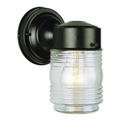 Trans Globe Lighting - Trans Globe Lighting 4900 Single Light Down Lighting Outdoor Wall Sconce - Single light down lighting outdoor wall sconce featuring clear jelly jar glassRequires 1 60w Medium Base Bulb (Not Included)