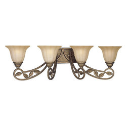 "Progress Lighting - Progress Lighting P2969 Le Jardin Four-Light Bathroom Fixture - Showcasing weathered sandstone glass and forged iron with the delicate detailing of a stylized flower, the light from Le Jardin hints of sun-drenched cottages that dot the French countryside. Much like its name, which means ""the garden,"" dainty leaves follow gentle rows and are enhanced by either an earthy Biscay Crackle or deep Espresso finish.Features:"