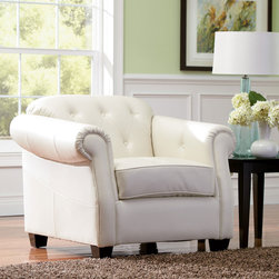 Coaster - Kristyna Collection White Contemporary Chair - The Kristyna sofa brings any living space to new levels of luxury, boasting buttery smooth white bonded leather upholstery. Sloped rolled arms, tufted backs and prominent stitching throughout. High-resiliency foam cushions adds a irresistible comfort.