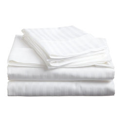 600 Thread Count - Egyptian Cotton Striped Sheet Set by ExceptionalSheets - Experience affordable luxury with our 100-percent Egyptian Cotton striped sheet sets. These sheets are comfortable and perfect for everyday use while providing you a little bit of heaven when you get into your bed at night. The one-ply sheets have a sateen weave and the fitted sheet is fully elasticized.These sheets sets include: