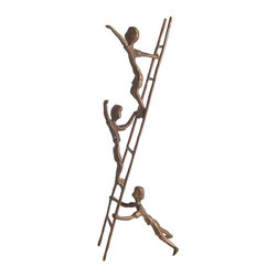 Danya B - Children on a Ladder Sculpture in Bronze - Inspired in love and family. Handcrafted. Casted using the sand casting method. Made from bronze. 5 in. L x 4.5 in. W x 14 in. H (1.4 lbs.)