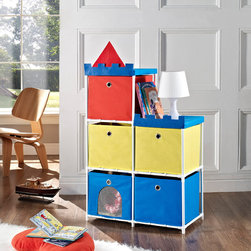Altra - Altra Kids 5-bin Castle Storage Unit - A tidy playroom or bedroom isn't just a fantasy with this king-size storage system. The Altra Kids Castle Storage Unit features five huge fabric bins and a durable metal frame that can hold a lot of treasures.