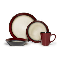 Pfaltzgraff - Pfaltzgraff Everyday Aria 16 pc. Dinnerware Set - Red - 5109392 - Shop for Sets from Hayneedle.com! The color combination of rich red and warm beige in a beautiful reactive glaze gives the Pfaltzgraff Everyday Aria 16 pc. Dinnerware Set Red a distinctive presence in contemporary dining rooms. Each piece within this four-person stoneware set displays unique variations of color and pattern enhancing its handcrafted beauty with Pfaltzgraff's signature ceramic artistry.