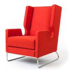 Gus Modern - Danforth Chair, Laurentian Sunset - Gus* - Danforth Chair.The Danforth Chair is an updated interpretation of the classic wingback style. The chair features a cutaway arm silhouette and a continuous tubular stainless steel base, both of which lend to its modern, graphic appeal. Made with 100% FSC-Certified wood, in support of responsible forest management.