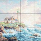The Tile Mural Store (USA) - Tile Mural - Lighthouse & Surf  - Kitchen Backsplash Ideas - This beautiful artwork by Judy Gibson has been digitally reproduced for tiles and depicts a lighhouse scene.  Our lighthouse tile murals and nautical themed decorative tiles are perfect as part of your kitchen backsplash tile project or your tub and shower surround bathroom tile project. Lighthouse images on tiles add a unique element to your tiling project and are a great kitchen backsplash idea. Use a lighthouse scene tile mural for a wall tile project in any room in your home where you want to add interest to a plain field of wall tile.