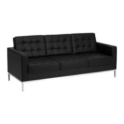 Flash Furniture - Flash Furniture Sofa X-GG-KB-AFOS-2-138-YECAL-BZ - This attractive black leather reception sofa will complete your upscale reception area. The design of this sofa allows it to adapt in a multitude of environments with its button tufted cushions and stainless steel frame. [ZB-LACEY-831-2-SOFA-BK-GG]